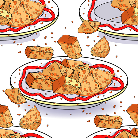 seamless pattern crockery bowl dish with appetizer. bread croutons  vector illustration