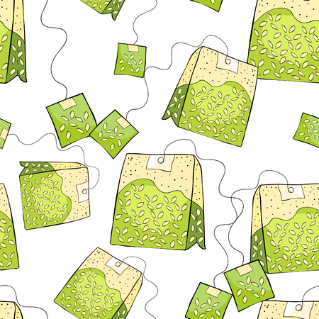 seamless pattern Natural product is a pack of green tea vector illustration