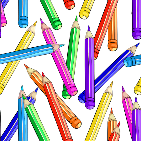 seamless pattern stationery for drawing colored pencils vector illustration Imagens - 126375859