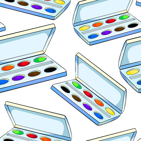 seamless pattern watercolor paints in a box for a drawing vector illustration