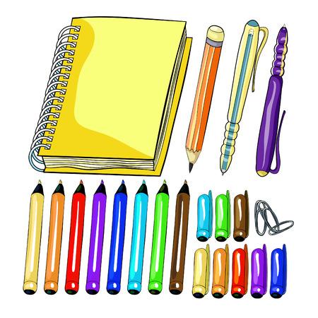 set notepad on helix pencil pen clip.  vector illustration