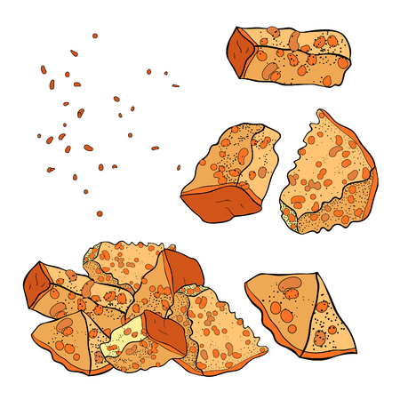set with appetizer bread croutons. vector illustration Ilustração