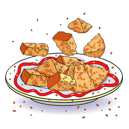 the crockery bowl dish with appetizer bread croutons  vector illustration
