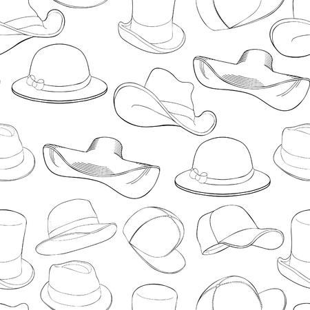 coloring seamless pattern hat cap headgear  vector illustration