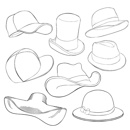 coloring Set hat cap headgear  vector illustration