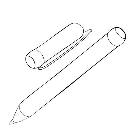 Färben von Schreibwaren Filzstift mit einer Kappenvektorillustration