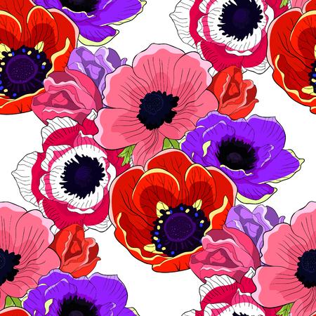 the seamless pattern  flower bloom japanese anemone vector illustration