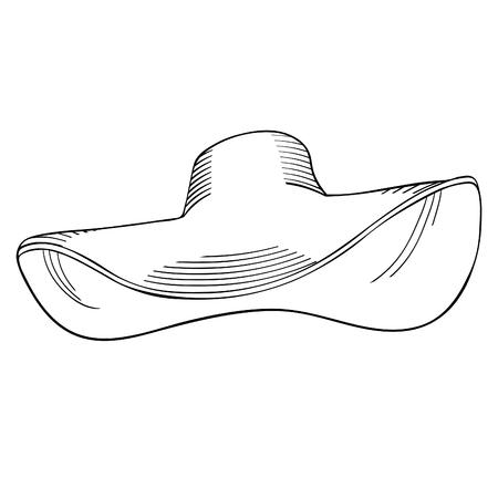 coloring summer female headdress hat with a bow vector illustration Ilustração