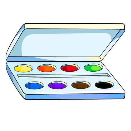 watercolor paints in a box for a drawing vector illustration Ilustração