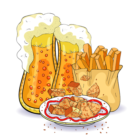 bread croutons and bubbles in a glass of beer french fries  vector illustration