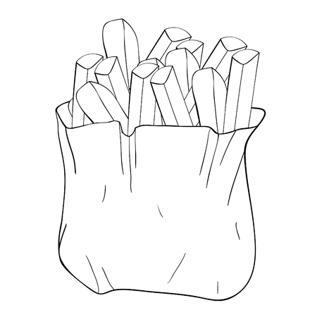 coloring  french fries snack food vector illustration
