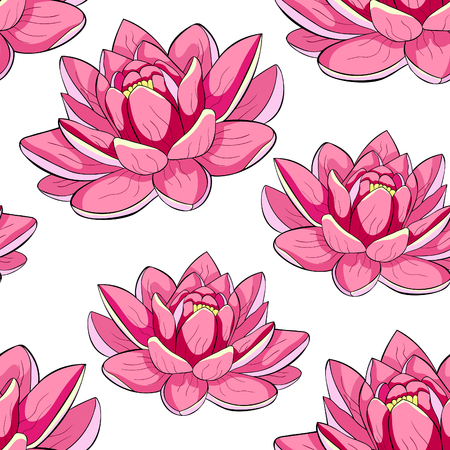seamless pattern  lotus flower spiritual india vector illustration
