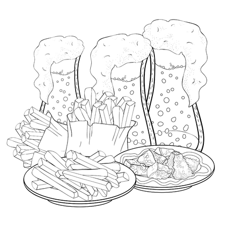 coloring bread croutons and bubbles in a glass of beer french fries  vector illustration Ilustração