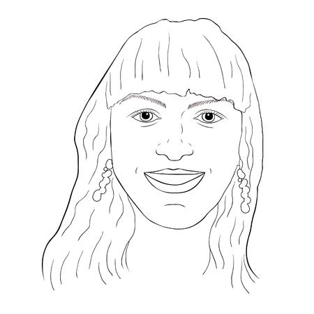 coloring haired girl smiling face  vector illustration Ilustração