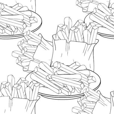 coloring seamless pattern  french fries snack food vector illustration