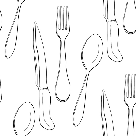 coloring seamless pattern cutlery spoon fork knife vector illustration