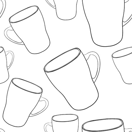 coloring seamless pattern tableware mug cup with handle vector illustration