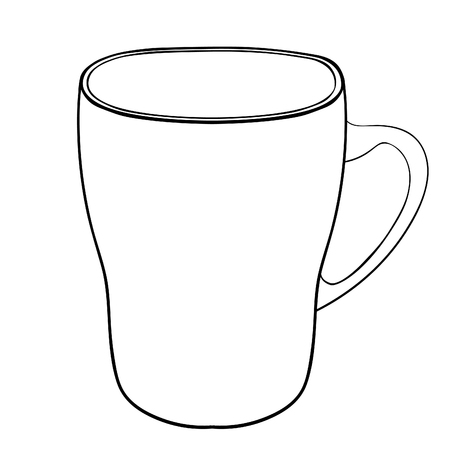 coloring tableware mug cup with handle vector illustration