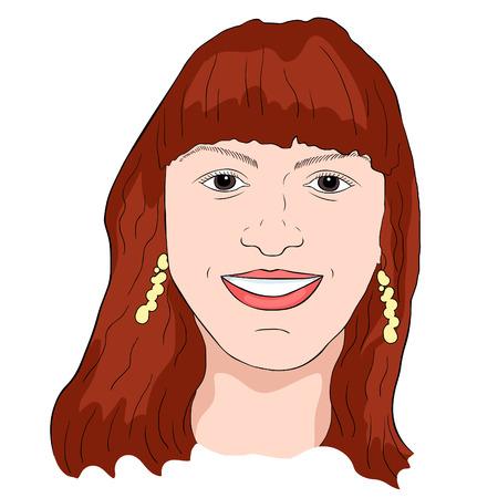 dark-haired girl smiling face  vector illustration