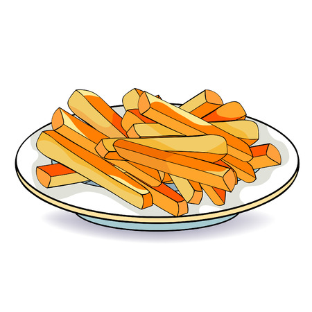french fries snack food in plate vector illustration