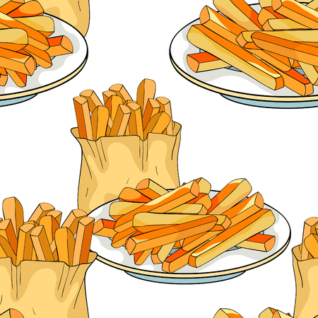 seamless pattern  french fries snack food vector illustration