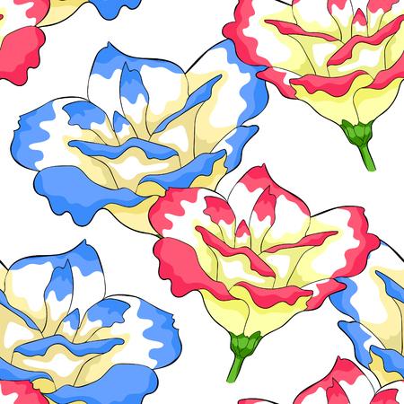 seamless pattern  Peony flowers eustoma indoor plants  vector illustration