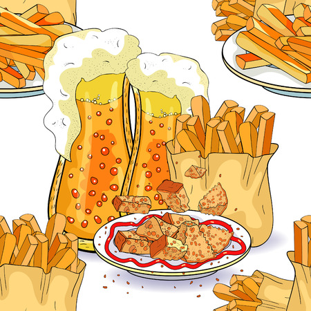 seamless pattern bread croutons and bubbles  beer french fries  vector illustration