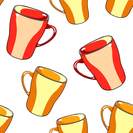 seamless pattern tableware mug cup with handle vector illustration