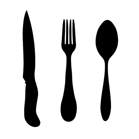 silhouette cutlery spoon fork knife vector illustration