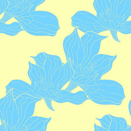 the seamless pattern  Gladiolus Acidanthera flower natural  vector illustration
