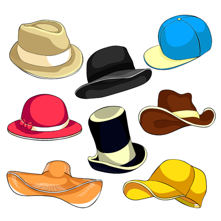 the Set hat cap headgear  vector illustration