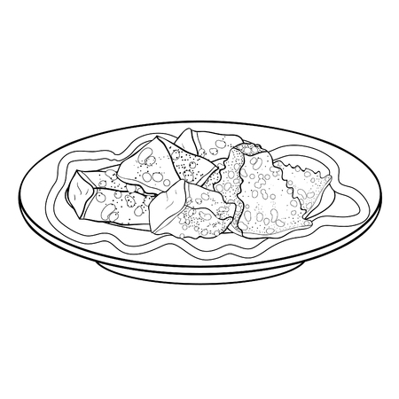 coloring crockery bowl dish with appetizer bread croutons  vector illustration  イラスト・ベクター素材