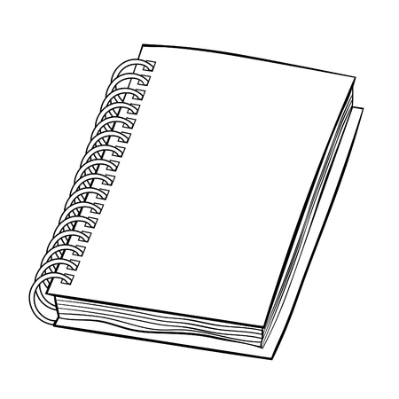 coloring office supplies notepad on a spiral  vector illustration