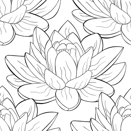 coloring seamless pattern  lotus flower spiritual india vector illustration