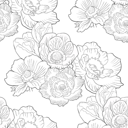 coloring seamless pattern flower bloom japanese anemone vector illustration