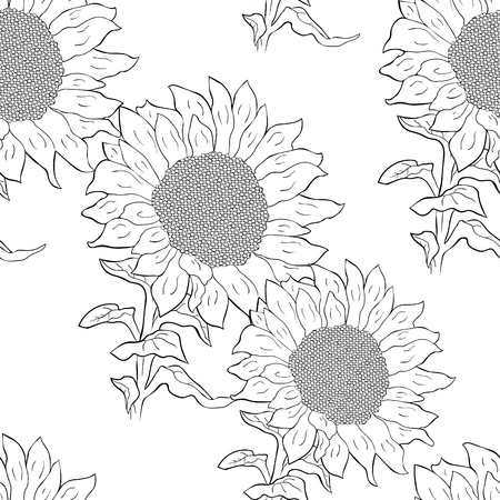 coloring seamless pattern sunflower flower with seeds vector illustration Ilustração