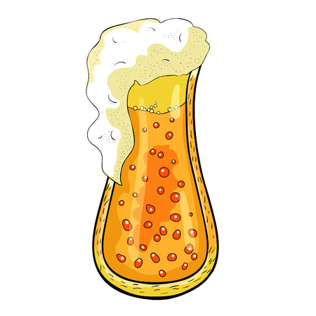 drink with foam and bubbles in a glass of beer vector illustration