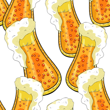 seamless pattern drink with foam and bubbles in a glass of beer vector illustration