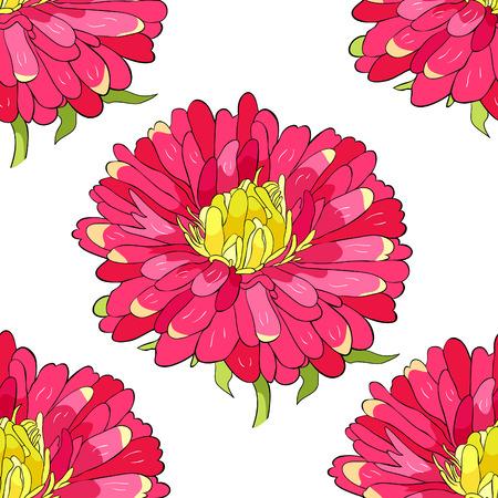 seamless pattern Michaelmas daisy aster spring Flower vector illustration Imagens - 126375913