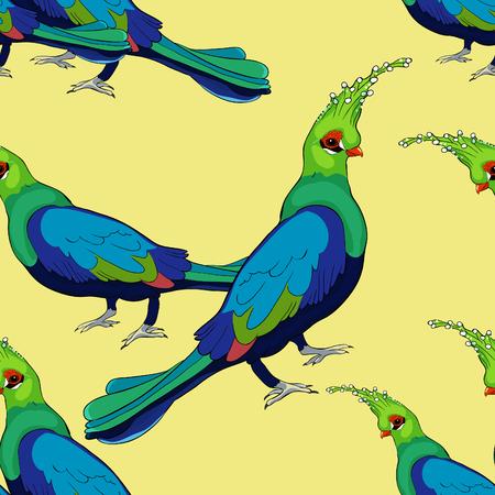 seamless pattern Turako Livingston Bananoed Tropical Parrot  vector illustration Ilustração