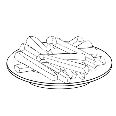 the french fries snack food in plate vector illustration