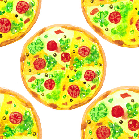 seamless pattern pizza round with tomatoes fast food  watercolor illustration