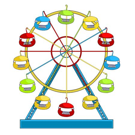 attractions and entertainment ferris wheel vector illustration
