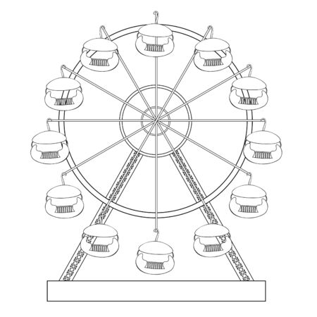 coloring attractions and entertainment ferris wheel vector illustration Ilustrace
