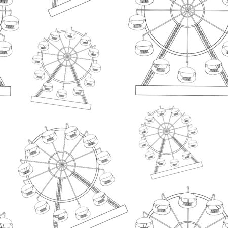 coloring seamless pattern attractions and entertainment ferris wheel vector illustration