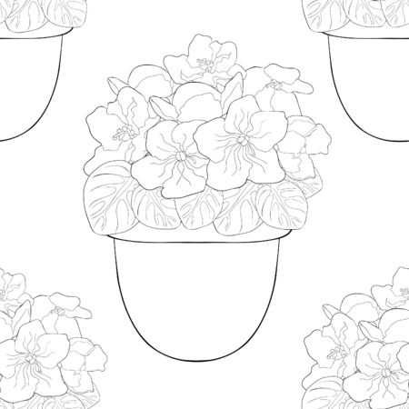 coloring seamless pattern Violet flower of pansies in a pot home vector illustration