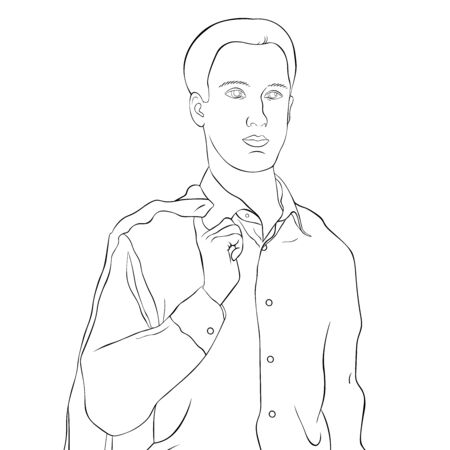 coloring Young man in a business suit waist-high vector illustration
