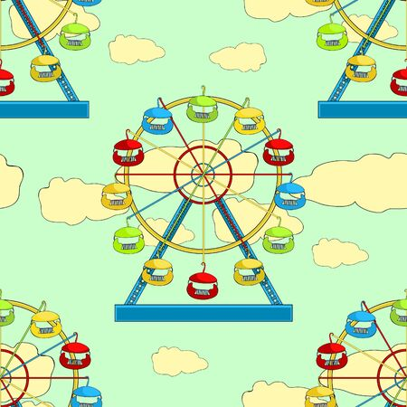 seamless pattern attractions and entertainment ferris wheel vector illustration