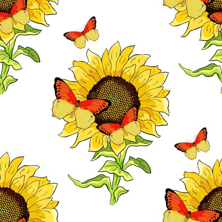 seamless pattern flower sunflower with Butterfly Hebomoia Leucippa. vector illustration
