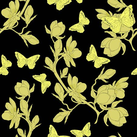 seamless pattern on flower  magnolia Butterfly Hebomoia Leucippa. vector illustration